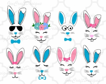 Bunny Svg, Easter Svg, Boy Girl Cute Easter Bunny Svg, Rabbit Cut File Bunny face Svg, cut Files Cricut Svg, Eps, Dxf, Png Silhouette Cricut