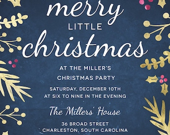Christmas Party Invitation - Christmas Party Invite, Holiday Party Invitation, Christmas, Holidays, Holly, Holiday Party Invite