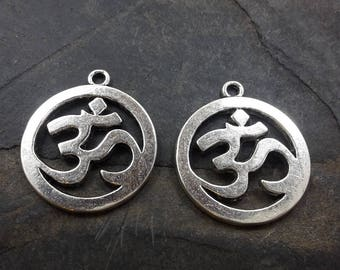 Pendant inscription ohm pendant spirituality, ethnic pendant in silver, 25 x 28 mm