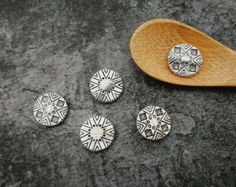 Ethnic beads, flat round beads ethnic boho beads, 10 x 3 mm silver separators