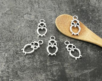 OWL charm OWL openwork silver metal charms birds, 21 x 10 mm