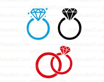 Digital file with 3 different rings with a diamond, also a combination of (engagement/wedding) rings. Cutfile for Cameo, Cricut, Brother