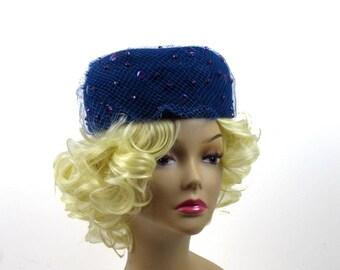 Blue Felt Beaded Veil Pillbox Hat, Navy Genuine Velour with Purple Beads, Church Hat 1960s