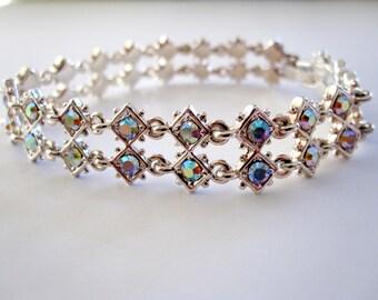 Premier Designs Dazzling Shiny Bracelet, Silver Tone Link Crystal Cut Bracelet, Clear Rhinestones, Designer Signed