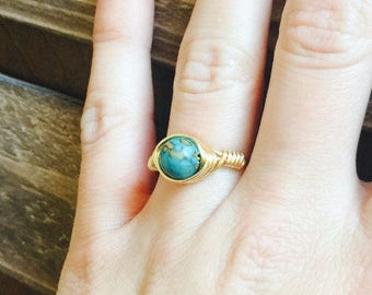 Gold Wire Wrapped Ring, Gold Turquoise Ring, December Birthstone Ring,  Wire Wrapped Turquoise Ring, Gold Wire Wrapped Rings