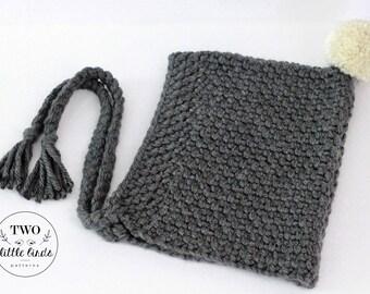 crochet hood, crochet pixie hood, hood with tassels, pom pom hood, crochet bonnet, pom pom hat, charcoal gray, adult size, ZOE PIXIE HOOD