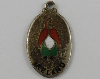 Enamel Ireland Woman Sterling Silver Vintage Charm For Bracelet