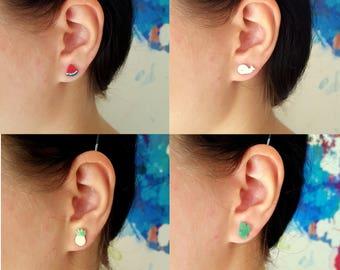 Trendy earstuds, Ananas, Water Melon earstuds, Whale earstuds, Fruit jewelry, Polymer clay jewelry
