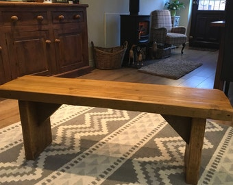 February SALE FREE DELIVERY! Extra-Wide 4ft Hand Made Reclaimed Old Pine Beam Solid Wood Dining Bench