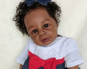 Lifelike AA/Ethnic/Biracial Reborn Beautiful Baby Girl Kyra Sculpt by Melissa George Realistic Doll Collectible Ready to Ship for FREE!!!