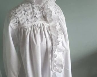 Victorian nightgown, long, pure white cotton with broderie anglaise and frill details. Antique and vintage. Fits petite to small sizes