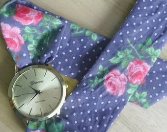 Fabric bracelet Watch Pearl Grey and pink cotton
