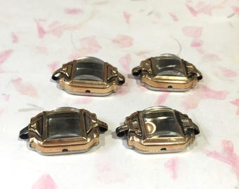 Montre Vintage cas, fournitures de Steampunk, Lot de 4 dames 10K RGP boîtiers de montre, des couronnes et des cristaux, nouveau vieux Stock des années 1950, fabrication de bijoux
