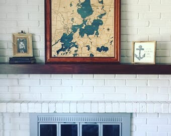 Chain O' Lakes Illinois Dimensional Wood Carved Depth Contour Map - Customize With Your Home Information
