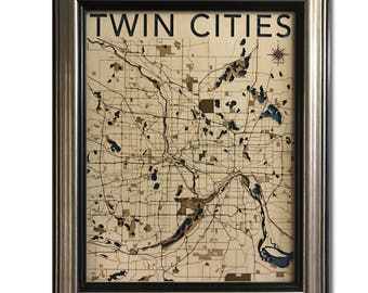 Twin Cities Wood Engraved 2D City Map - 24x30 - Laser Cut Map Decor
