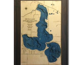 Devils and Round Lakes Dimensional Wood Carved Depth Contour Map - Customize With Your Home Information