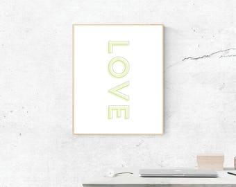 Love, Digital Print, Love Art, Love Art, Digital Download, Love Wall Art, Wall Prints, Printable Art, Love Poster