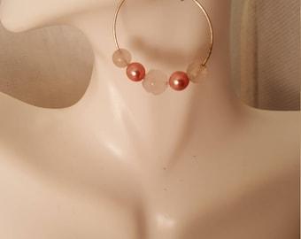 Pink hoop earrings  (ER088)