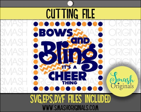 Bows And Bling It S A Cheer Thing Cut File Svg Eps And