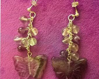 Carved Amethyst Butterfly earrings