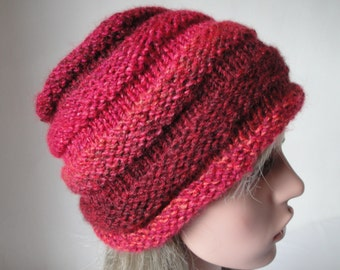 vegan knit beanie, beehive hat size S-M, burgundy multi cap, chunky knitted hat, teen/adult beehive hat, cerise ombre cap, multicolor beanie