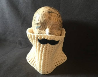 Mustache cowl, neckwarmer with mustache, chunky warm cowl, mustache neckwarmer, crocheted cowl with mustache, cream colored cowl, creme cowl