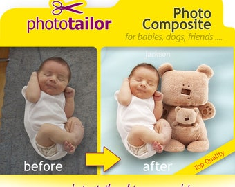 Photo Composite Realistic Montage, Photoshop Edit Custom Background Change, Seamless Merge of different photos. Ideal for babies and kids