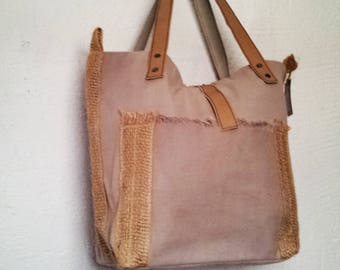 /Anses linen tote bag leather