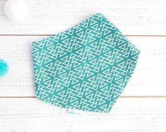 Organic Baby Bib - Bamboo Dribble Bandana -  Turquoise Triangles - Geometric - Gender Neutral Bib  - Drool Bib - Baby Shower - Teething Bib