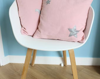 """Cushion cover 40 x 40 """"pink"""" cotton and silver stars - bedroom"""