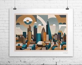 City Of London (Art print, signed, unframed)