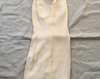 Beige, criss cross back mini tank dress