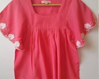 Boho Embroidered Cotton Silk Tunic Top Size 6 in melon pink retro