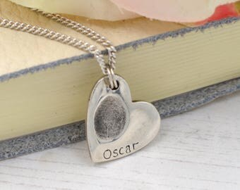 Fingerprint Necklace, Heart Fingerprint Necklace, Silver Fingerprint necklace, Thumbprint Necklace, Personalised Necklace, Gifts for Her