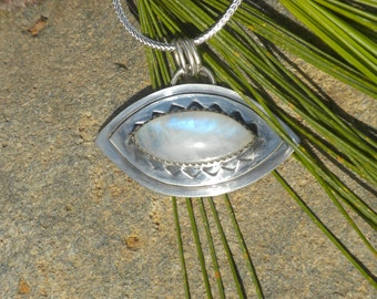 Pendant with Rainbow Moonstone - Evil Eye Talisman, Silver, Rainbow Moonstone, Marquise Cut, Pendant