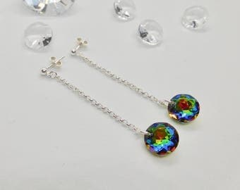 Sterling Silver & Crystal (from Swarovski®) Earrings, Crystal Vitrail Earrings, Rainbow Crystal Jewellery, Wedding Jewellery, Gift For Her