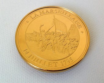 french collectible gold plated medal, La Marseillaise, History of France