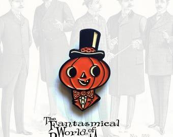 Top Hat Jack Halloween Enamel Pin by Rhode Montijo