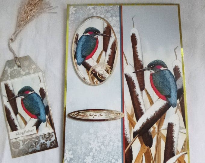 Kingfisher Christmas Card, Greeting Card,Winter Scene, Free Book Mark, Male or Female, Any Age, Mum, Dad, Brother, Sister, Son