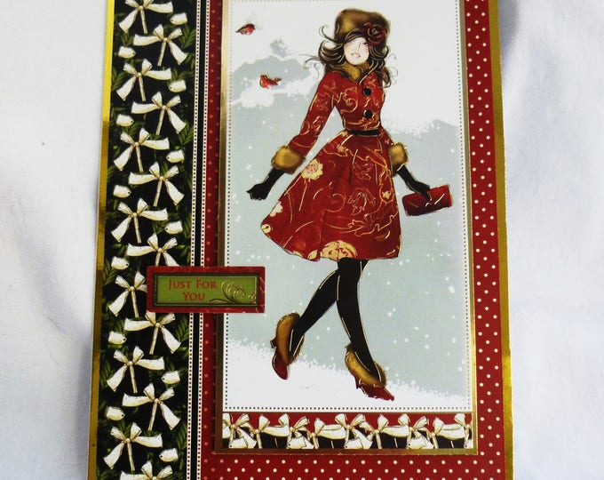 Christmas Card,Lady In Red Christmas Card, Greeting Card, Festive Card, Just For You, Any Age, Female, Mother, Sister, Daughter, Niece