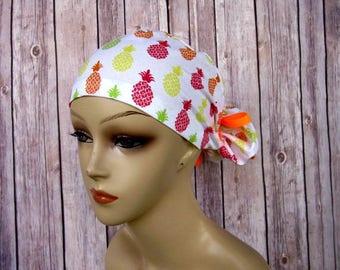 Womens Surgical Scrub Caps - Ponytail - Scrub Hat - Pineapple Paradise