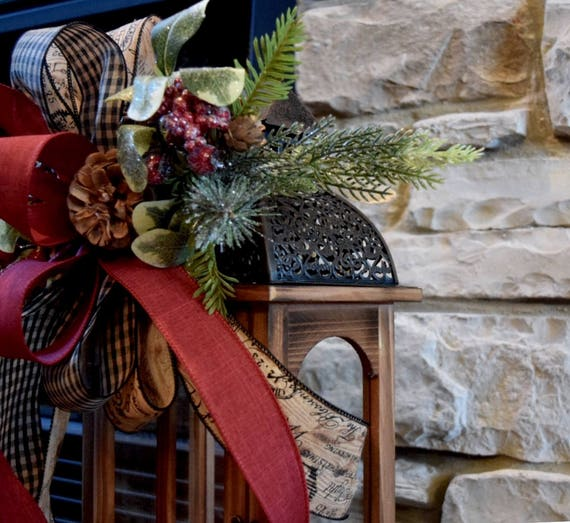 Glittered Berries Pine Cones and Pine Christmas Swag with Wood and Black Tin Lantern; Country Winter Holiday Rustic Primitive Table Decor