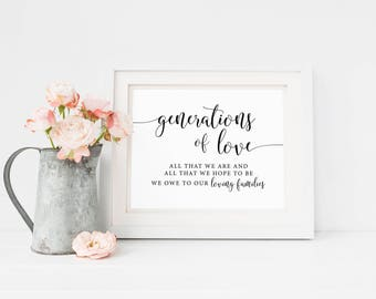 Generations Of Love Wedding Sign, All That We Are And Hope To Be Printable, Rustic Wedding Reception Family Thank You Signs, Ceremony Signs