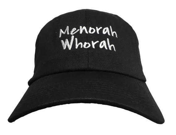 Menorah Whorah - Polo Style Ball Cap - Black with White Stitching