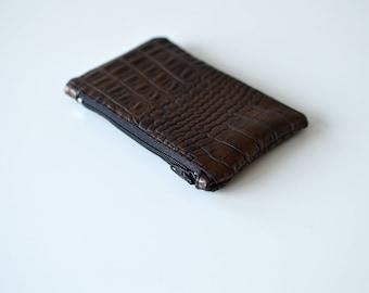 Small copper Brown crocodile leather purse