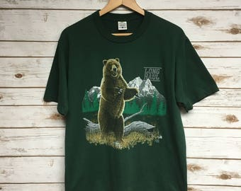 Grizzly bear shirt etsy vintage 90s grizzly bear long haul tshirt green cotton made in usa tshirt animal print nature publicscrutiny Image collections