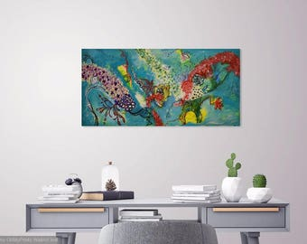 Nereids Song - 24x48inch Abstract Ocean Art, Blue Contemporary Artwork ,Modern Painting, Original Painting on Canvas