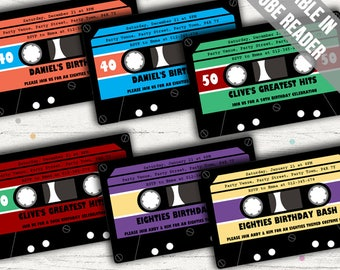 Retro Party Invitation. Cassette Tape Invitation Ideal For 80s Or 90s Party. Editable PDF. Printable. Instant Download.