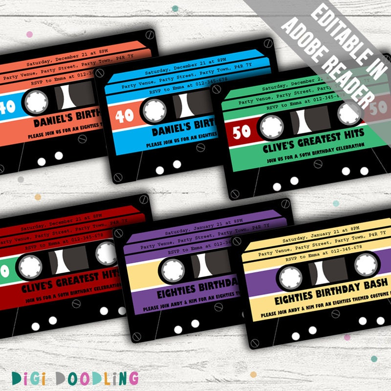 retro party invitation cassette tape invitation ideal for 80s. Black Bedroom Furniture Sets. Home Design Ideas