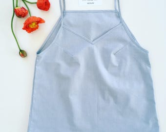Organic cotton top blue camisole organic clothing quality blouse casual top comfortable feminine summer clothes ethical Australia